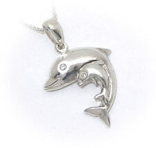SILVER JEWELLERYJEWELRY LADIES  925  STERLING SILVER DOLPHIN WITH  CALF NECKLACE