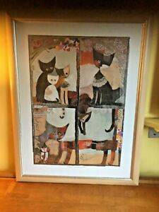 Rare Signed Rosina Wachtmeister Large Framed, 4 CATS Prints in One Frame