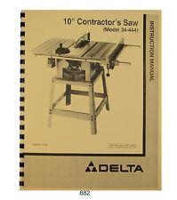 "Delta 10"" Table Saw Model 34-410, 34-440, 34-444 Operator & Parts Manual #882"