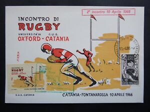 OXFORD-CAMBRIDGE v CATANIA, april  1966 RUGBY, 1st day card