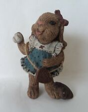 "Sarah's Attic Tabitha Rabbit with Baseball and Glove June 1992 3 3/4"" Tall"