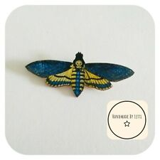 Dead head moth blue Wooden Brooch ✨wooden 💛 Handmade ✨large
