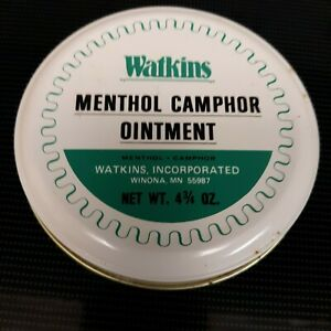 Vintage Watkins Full Tin Of Menthol camphor Ointment Salve 4 3/4 Oz