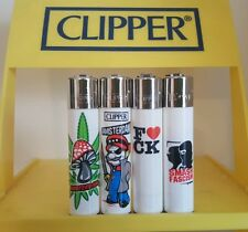 Clipper Lighters x4 Cool Rare White Stop Facism Riot Gift Smoke Collectable