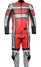 Mv Agusta Klassisch Rot Silber Motorrad Ce Biker Leder Jacke & Hose 2Pc Suit