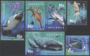Australia 1998 Planet Ocean/Shark/Whale/Dolphin/Ray/Marine/Nature 6v set (s820a)