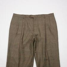 JOS.A.BANK Windsor Lined Pleated Wool Dress Pants Brown Plaid Mens 42x28
