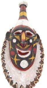 .VINTAGE GOGODALA PNG COLOURFUL LARGE CARVED TRIBAL WOODEN MASK. 100% GENUINE.