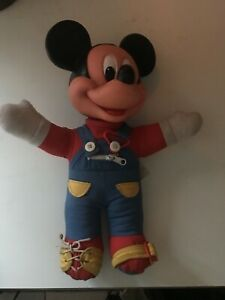 VTG 80s Mickey Mouse Learn How to Dress Doll Hard Head Plush Toy Disney Overalls