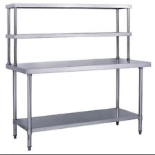 "Stainless Steel Work Prep Table 24"" x 36"" with Double Overshelf"