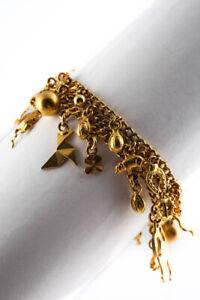 Designer Vintage 9KT Yellow Gold Charm Bracelet Gold