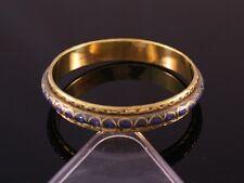 Large Indian Brass Braided Weaving Many Lapis Gemstone Inlay Bangle Bracelet