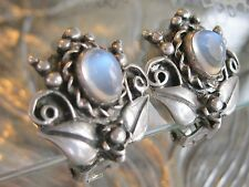 ANTIQUE WALTER LAMPL MOONSTONE CABOCHON 925 STERLING SILVER CLIP FLOWER EARRINGS