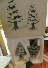 """Dept 56 Heritage """"Village Small Porcelain Pines"""" Set of 2 #5251-5 In Box Look"""
