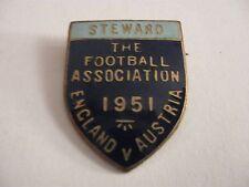 RARE OLD 1951 ENGLAND V AUSTRIA FOOTBALL MATCH STEWARD ENAMEL BROOCH PIN BADGE