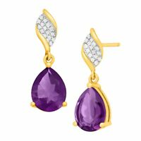 3 1/8 ct Pear-Cut Natural Amethyst Drop Earrings with Diamonds 10k Yellow Gold