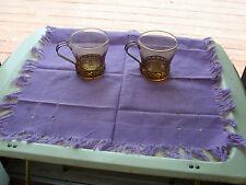 11  LIBBY VINTAGE.RETRO- COFFEE MUGS-CUPS -GOLD GREEK KEY W/METAL HANDLE BASE