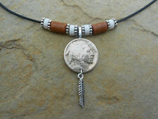 +BUFFALO NICKEL COIN NECKLACES!!! HANGING FEATHER (A piece of American History)