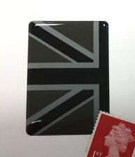 Half Union Jack Flag Sticker Domed Finish Black & 2 Tone Grey 35mm x 50mm