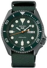 Seiko 5 Sports Steel Green Canvas Strap Automatic Mens Watch SRPD77K1 RRP £280