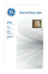 GE Lighting  Stained Glass  25 watts A19  Incandescent Bulb  380 lumens Soft Whi
