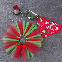 Christmas Dog Cat Santa Hat Bowtie Tutu Skirt Scarf Xmas Outfit for Small Pet
