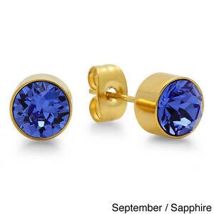 Surgical 316L Stainless Steel Gold Birthstone Stud Earrings Zircon Men Women 2PC