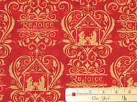 Rejoice in the Season Red Christmas Nativity Fabric  by the 1/2 Yard #19761-11