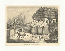 St. Andreastag in Galizien Th. Reichan Tiere Gockel Hund Hof Holzstich E 8613