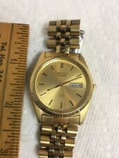 Vtg Mens Gold Watch Seiko Quartz SQ 5Y23-8C4L Day & Date New Battery Works Fine
