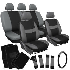 21pc Gray Black Seat Cover for Truck w/Steering Wheel/Low Back Bucket/Floor Mat