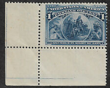 US # 230 (1893) Columbus in Sight of Land 1c - Mint not hinged - EFO: Lines - VG