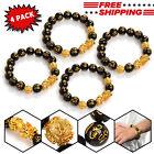 4x Feng Shui Black Obsidian Beads Bracelet Attract Wealth Good Luck Bangle PIXIU