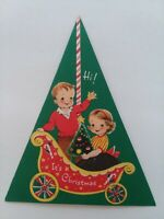 Vtg Triangle Shape NORCROSS of Course Little GIRL & Boy CHRISTMAS GREETING CARD