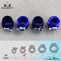 4pcs -6 AN 6 AN6 STAINLESS STEEL / NYLON BRAIDED HOSE CLAMP COVER FINISHER BLUE
