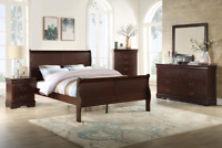 NEW 5PC Cherry Queen or King Sleigh Bedroom Set Modern Furniture Bed/D/M/N/C