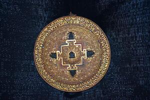 Mandala Tibet Kupfer vergoldet 5 Buddha-Figuren Türkise/Koralle sehr fein D:21cm