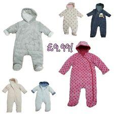 Baby Boys Girls Pramsuit Snowsuit Winter Coat Warm Hooded Fully Lined Velour