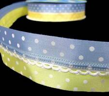 "5 Yards Pastel Baby Blue Yellow Polka Dot Scalloped Center Wired Ribbon 1 1/2""W"