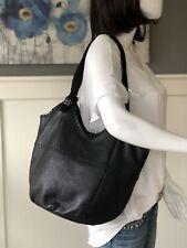THE SAK Black Leather Bucket Hobo Tote Shoulder Handbag Purse Braided Handles