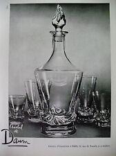 PUBLICITE DE PRESSE DAUM CRISTAL SERVICE VERRES RUE DE PARADIS FRENCH AD 1955