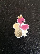5pc. Gold Flamingo, Resin Planar Cabochon, Bow Center, Scrapbooking, Party