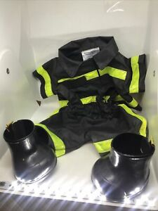 Build a Bear Firefighter Outfit Black Yellow Stripes Jacket Pants Fireman boots