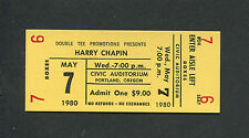 1980 Harry Chapin Unused Concert Ticket Portland Sequel Cat's In The Cradle