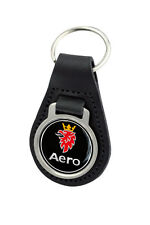 Saab Aero Logo Quality Black Leather Keyring