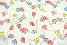 Hearts on a String Flannel Fabric 100% Cotton 4 Yards