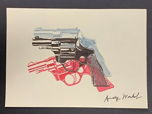 "Andy Warhol Pop Art Guns on Paper, Signed 11.5"" x 8.25"""