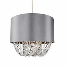 Modern Easy Fit Drum Shade Grey Fabric Ceiling Pendant Light Shade Chandelier