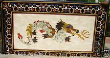 4'x2' Marble Dining Coffee Table Top Rare Dragon Art Marquetry Inlay Decor H2066