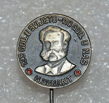 Henry Dunant Red Cross Founder 125th anniversary Nobel Prize pin badge rare
